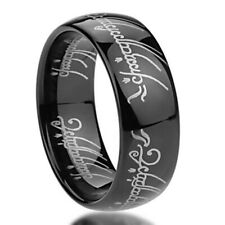 Men's 8mm Titanium Ring Laser Lord of Rings Black Color Band / Gift box