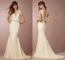 Sexy V-Neck Mermaid Wedding Dresses Appliques Lace Bridal Gown Sweep Train W2178