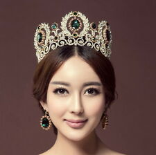 9cm High Crystal Tiara Earrings Set Wedding Party Pageant Prom Crown - 2 Colours