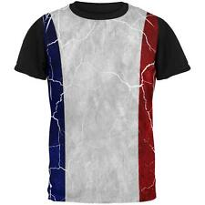 Distressed French Flag All Over Mens Black Back T Shirt