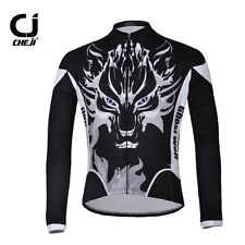 Mens Cycling Jacket Cloth Long Sleeve Bicycle Bike Jersey Tops Wolf Size S-5XL