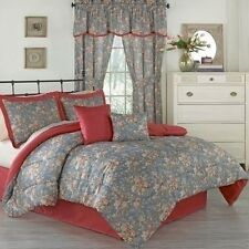 NEW Full Queen King Bed Red Chambray Denim Blue Floral 6pc Comforter Set Country