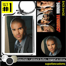 Shemar Moore KEYCHAIN + BUTTON or MAGNET or MIRROR criminal minds key ring #1306