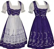 DIRNDL German Oktoberfest Purple Dress EMBROIDERED 3 pc LONG Swing Full Waitress
