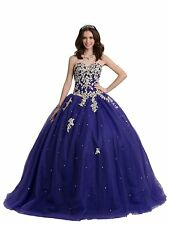 Women's Sweetheart Lace Appliques Tulle Ball Gowns Quinceanera Party Dress W1607