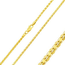 2mm 925 Sterling Silver Tube Brite Chain Necklace / Gold Plated made in italy