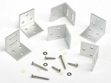 Black or Aluminium Right Angle L Brackets & Screws For Fixing Fence Panels 6pack