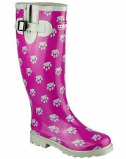 Cotswold Womens Collection Dog Paw Welly Boots Self Lined Rubber Slip On Shoes