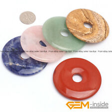 Wholesale Natural Gemstone Round Donut Pendant Earring Beads 1Pcs 30mm 40mm 50mm