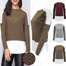 NEW LADIES TWEED LOOK BLOCK TOP WOMENS CONTRAST LONG SLEEVED SHAPED HEM JUMPER