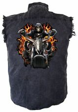 Mens Grim Reaper Riding Motorcycle Skull Denim Sleeveless Cutoff Biker Shirt