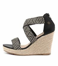 New Walnut Melbourne Dusty Black Combo Women Shoes Sandals Wedges Heels