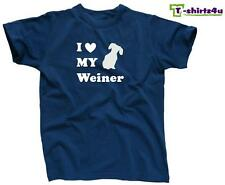 I LOVE MY WEINER Heart Dachshund Dog Cute Puppy Pet Funny T-Shirt - NEW - Blue