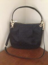 NEW MICHAEL KORS JET SET SIGNATURE BLACK JACQUARD Large CONVERTIBLE SHOULDER BAG