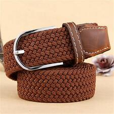 Men Stretch Unisex Casual Elastic Belt Braided Canvas Woven Leather Waist Belt