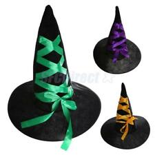 Black Witch Hat with Ribbon Lady Women Halloween Cosplay Costume Accessories