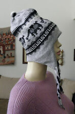 NWOT Made In Peru Alpaca Bended Thick Reversible Chullo Earflap Ski Hat #81213