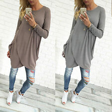 Womens Long Sleeve Casual Tops T Shirt Loose Long Blouse Jumper Pullover Dress