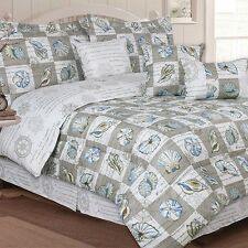 NEW Twin Full Queen King Bed Blue Taupe Brown Seashell Beach 7 pc Comforter Set