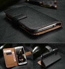 Genuine Real Leather Flip Wallet Case Cover For HTC Phones