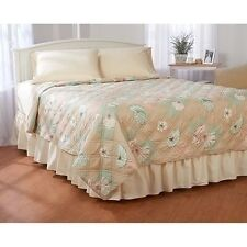 NEW Twin Full Queen King Quilt Coverlet Tan Green Beach Seashells Patchwork NWT