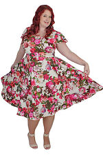 Plus Size White and Pink Vintage Style Floral Tea Dress Sizes 18 - 28