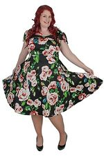 Plus Size Black and Pink Vintage Style Floral Tea Dress Sizes 18 - 28