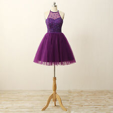 Purple Short Tulle Cocktail Prom Gowns Beading Party Mini Formal Clubwear E256
