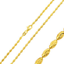 Men 2.2mm 925 Sterling Silver Moon Bead Chain Necklace Gold Plated made in italy