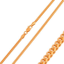 Men 925 Sterling Silver Bombe Chain Necklace Rose Gold Plated made in italy