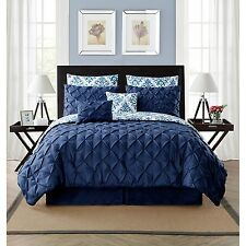 NEW Queen King Bed Navy Blue White Scroll Pinch Pleat 8 pc Comforter Set Elegant
