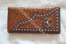 Faux Crocodile Leather WESTERN CHECKBOOK RODEO BUDDED WALLET LONGHORN CONCHO