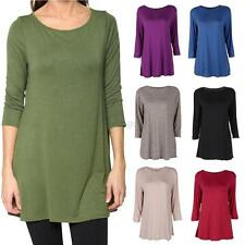 Women Lady Autumn Boat Neck 3/4 Sleeve Tunic Top Casual Loose Fit T-Shirts Tops
