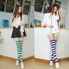Sexy Women Girl Thigh High Striped Over the Knee Socks Cotton Stockings new PY