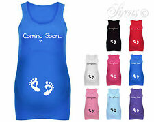 COMING SOON BABY FEET CUTE FUN DESIGNER MATERNITY VEST TANK TOP BABY SHOWER GIFT