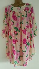 NEW ExNext 10-24 Pink Nude Floral Print Chiffon Smock Tunic Top Blouse
