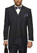 Mens Navy Blue Plaid Three Piece Two Button Wool Suit