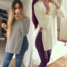 Women High-End O-neck Long Sleeve Side Split Long Knitwear Top Pullover Outwear