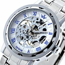 New Luxury Mechanical Skeleton Stainless Wrist Watch Steampunk Analog Sport Mens