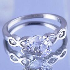 Fashion Like Table Womens Crystal White Gold Filled Infinity Ring Size 6-9