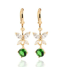 Delicate & Glittering Flower 18k Gold Plated CZ Drop Earrings