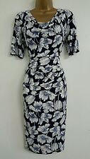 NEW M&S 10-20 Cowl Neck Navy Blue White Floral Printed Shift Dress