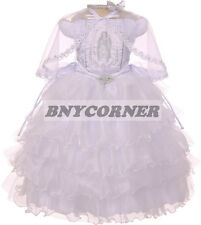 Layered White Virgin Mary Baby Girls Baptism Christening Wedding Girl Dress
