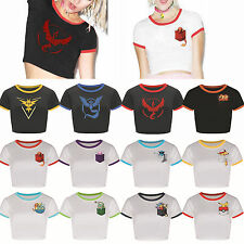 Women Pokemon Printed Cropped Tops Summer Short Sleeve Belly T-Shirts Blouse Tee