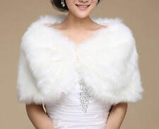 New Ivory Faux Fur Wrap Bridal Bolero Warm Shawl Women's Shrug Stole Jacket