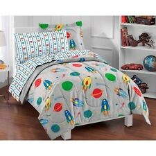 NEW Kids Comforter Set Bedding Twin Bed Sheets Reversible Gray Rockets Space NIP