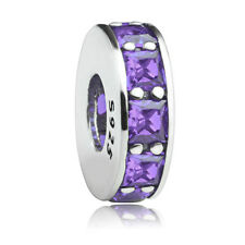Authentic 925 Sterling silver Purple CZ Crystal Spacer Charm bead for bracelet