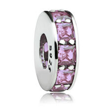 Authentic 925 Sterling silver Blush Pink Crystal CZ Spacer charm fit bracelet