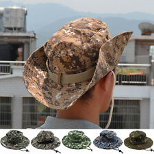Mens Womens Camo Military Boonie Cap Sun Fishing Hiking Bucket Army Hat New