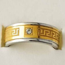 Unisex Mens Gold Plated Stainless Steel clear CZ vintage mystic Ring Size 8-11